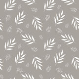 Seamless abstract floral pattern. Gray and white vector background. Leaves ornament for wrapping, wallpaper, tiles Stock Image