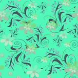 Seamless abstract floral pattern. On green background Royalty Free Stock Image