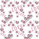 Seamless abstract floral pattern with  hearts in retro style, white background, Royalty Free Stock Image