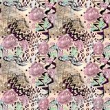 Seamless abstract floral pattern on a leopard skin texture, snake. Fashionable pattern Royalty Free Stock Photography