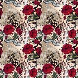 Seamless abstract floral pattern on a leopard skin texture, snake. Fashionable pattern Stock Photos