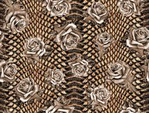 Seamless abstract floral pattern on a leopard skin texture, snake. vector illustration