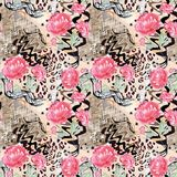 Seamless abstract floral pattern on a leopard skin texture, snake. Stylish pattern Royalty Free Stock Images