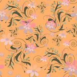 Seamless abstract floral pattern. On orange background Stock Photos