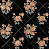 Seamless abstract floral pattern. Orange roses on black background. Vintage ornament Stock Image