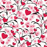 Seamless abstract floral pattern with red  hearts , white background, Royalty Free Stock Image