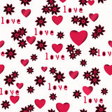 Seamless abstract floral pattern with red  hearts , white background, Stock Photography