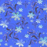 Seamless abstract floral pattern. On blue background Royalty Free Stock Photography