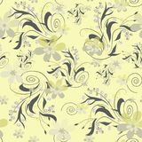 Seamless abstract floral pattern. On yellow background Stock Photography