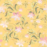 Seamless abstract floral pattern. On yellow background Royalty Free Stock Image