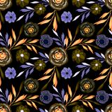 Seamless abstract floral pattern, yellow, lilac flowers on black background. Colorful background royalty free illustration