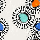 Seamless abstract flower ornaments grungy style. Seamless abstract flower ornaments background pattern background pattern, with circles, paint strokes and royalty free illustration