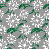 Seamless  abstract flower Pattern on gray Stock Images