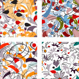 Seamless abstract flower and shapes pattern Stock Photos