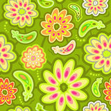 Seamless abstract flowers pattern. Seamless abstract pattern with flowers, apples and leaves stock illustration
