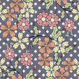Seamless abstract flowers pattern gray specks background Stock Image