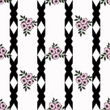 Seamless abstract flowers pattern striped background Royalty Free Stock Image