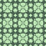 Seamless abstract flowers patterns. Geometrical floral ornament. Green vector background Stock Photos