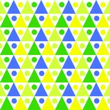 Triangles balls pattern seamless background. Seamless abstract forest background. Green and blue triangles and dots texture pattern Royalty Free Stock Photography