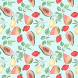Seamless abstract fruit pattern.Lemon, pear, strawberry, papaya on a light blue background. Colorful pattern Stock Photo