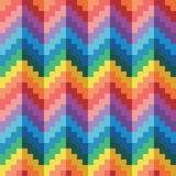 Seamless abstract geomatric pixel rainbow zigzag vector pattern. In flat design style Stock Images