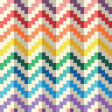 Seamless abstract geomatric pixel rainbow zigzag vector pattern Royalty Free Stock Images