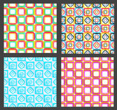 Seamless abstract geometric background. Made of glossy bright square figures, set of four Stock Photos