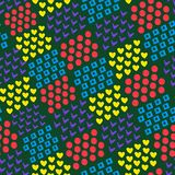 Seamless abstract geometric background of different brick shapes heart and square and circle and tick on dark background. The. Figures are made in watercolor royalty free illustration