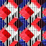 Seamless abstract geometric black , blue, red  and white pattern. Seamless abstract geometric black ,red , blue and white pattern. Pechvork Stock Photo