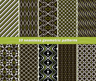 10 seamless abstract geometric contrasting patterns. Set of 10 different seamless abstract geometric patterns in black, white and green colors. Beautiful vector illustration