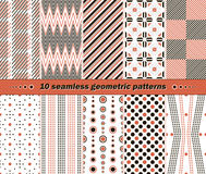 10 seamless abstract geometric contrasting patterns Royalty Free Stock Photo