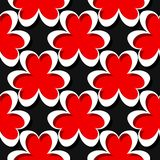 Seamless abstract geometric 3d pattern. Black and red background. Vector illustration Stock Photos
