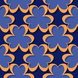 Seamless abstract geometric 3d pattern. Deep blue and orange background. Vector illustration vector illustration