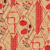 Seamless abstract geometric, floral pattern. Red, beige background. Patchwork. Colorful background vector illustration