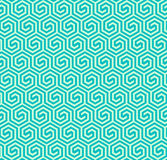Seamless abstract geometric hexagonal pattern -vector eps8. Abstract seamless retro pattern made from hexagonal shapes in turquoise colors Stock Photo