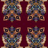 Paisley lotus seamless background Royalty Free Stock Images
