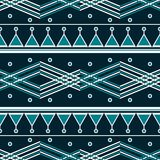 Seamless abstract geometric pattern in blue and white colors. Intersecting zig zag lines, wide horizontal stripes Vector Illustration
