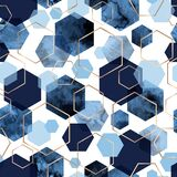 Seamless abstract geometric pattern with gold foil outline and deep blue watercolor hexagons