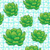 Seamless abstract geometric pattern with green succulents. Retro. 1980s, 1990s style. Memphis inspired design for textiles and fabrics, wrapping paper and stock illustration