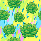 Seamless abstract geometric pattern with green succulents. Retro. 1980s, 1990s style. Memphis inspired design for textiles and fabrics, wrapping paper and royalty free illustration