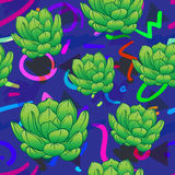 Seamless abstract geometric pattern with green succulents. Retro. 1980s, 1990s style. Memphis inspired design for textiles and fabrics, wrapping paper and vector illustration