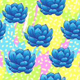 Seamless abstract geometric pattern with green succulents. Retro. 1980s, 1990s style. Memphis inspired design for textiles and fabrics, wrapping paper and Stock Photo