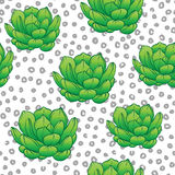 Seamless abstract geometric pattern with green succulents. Retro. 1980s, 1990s style. Memphis inspired design for textiles and fabrics, wrapping paper and Stock Image
