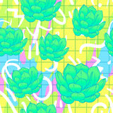 Seamless abstract geometric pattern with green succulents. Retro. 1980s, 1990s style. Memphis inspired design for textiles and fabrics, wrapping paper and Royalty Free Stock Image