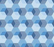 Seamless abstract geometric pattern with hexagons. Abstract seamless geometric retro pattern background made from hexagons in blue color Royalty Free Stock Photos