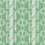 Seamless mint green pattern of multiple bent lines and circles. Seamless abstract geometric pattern of multiple bent lines and circles. Mint green and white Stock Images