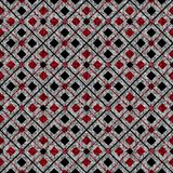 Seamless abstract geometric pattern . Red, black squares on grey background. Colorful background vector illustration
