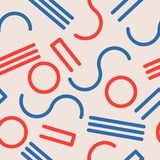 Seamless abstract geometric pattern in retro memphis style. Fashion 80-90s.vector illustration Stock Images