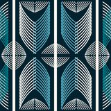 Seamless abstract geometric pattern with stripes and curves. Blue and white colors vector illustration