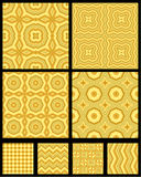 Seamless abstract geometric patterns. Eight seamless (repeatable) abstract geometric patterns (backgrounds, wallpapers) of wooden colors, all included in swatch royalty free illustration